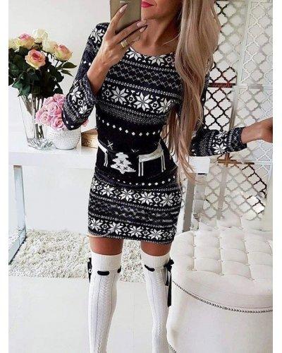 Rochie tricotata de Craciun neagra cu reni albi Catia