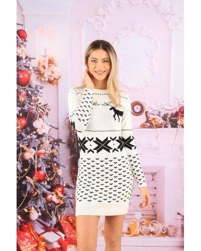 Rochie tricotata alba de Craciun print cu reni Della