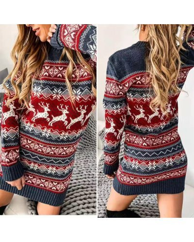 Rochie tricotata de Craciun rosie Milona