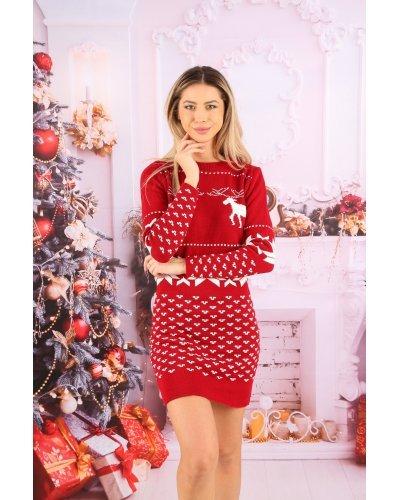Rochie tricotata rosie de Craciun scurta Della