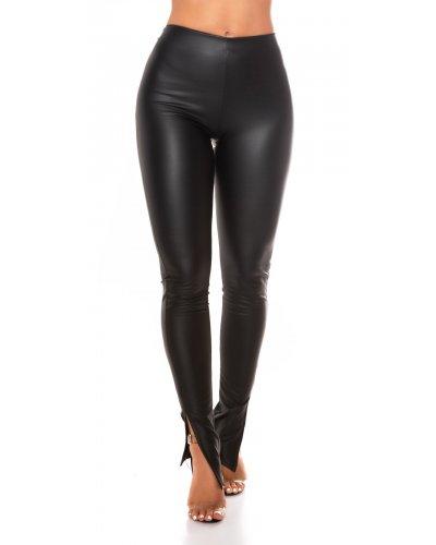 Pantaloni dama imitatie piele neagra mulati Mika