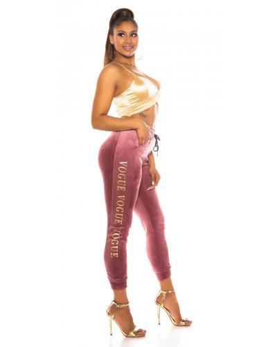 Pantaloni de trening casual catifea roz vintage Pink