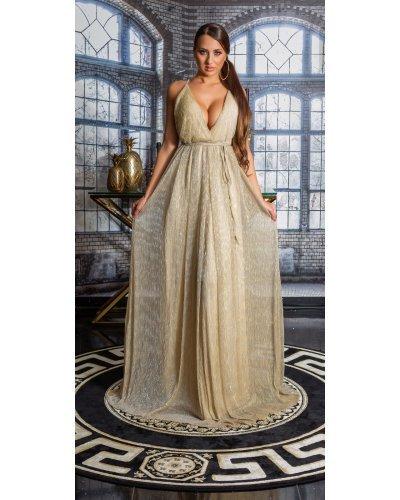 Rochie de ocazie lunga vaporoasa cu glitter auriu Dariana