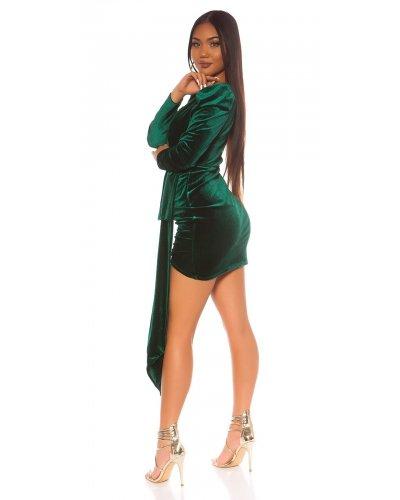 Rochie de seara scurta din catifea verde suprapusa Diamond