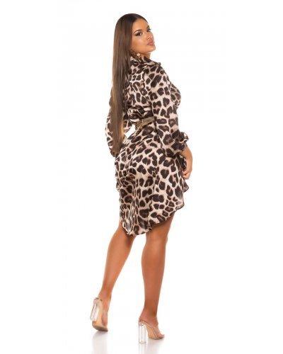 Rochie de zi camasa oversized asimetrica leopard print Sabrina