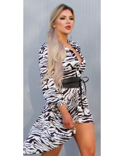 Rochie de zi camasa oversized asimetrica zebra print Sabrina