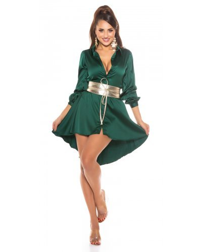 Rochie de zi oversized tip camasa verde asimetrica Sabrina