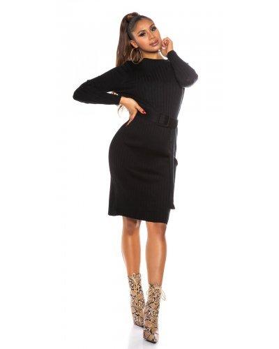 Rochie de zi tricotata din vascoza neagra Rossana