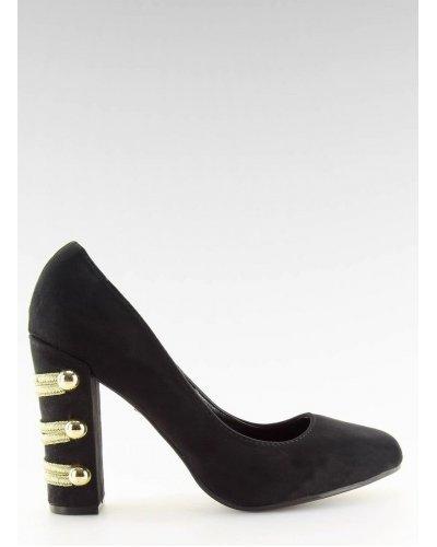 Pantofi de dama din piele eco intoarsa neagra cu toc gros Arlana