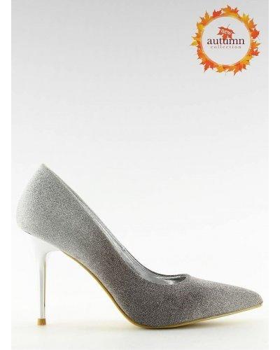 Pantofi eleganti argintii cu toc subtire Miruna