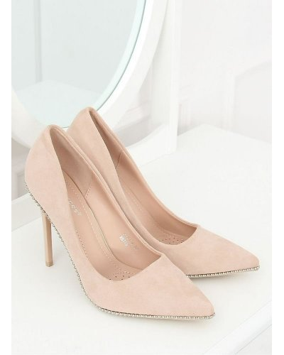 Pantofi eleganti cu toc din piele eco intoarsa bej Bijou