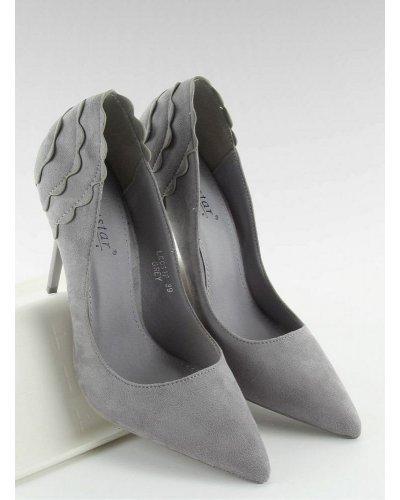 Pantofi eleganti piele eco intoarsa gri Alina