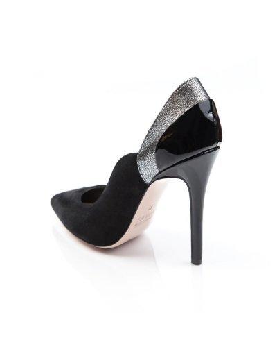 Pantofi de dama eleganti din piele intoarsa neagra si argintie Ella