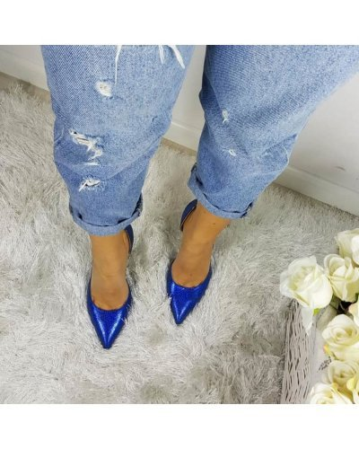 Pantofi de dama eleganti din piele naturala albastru electric Anuska