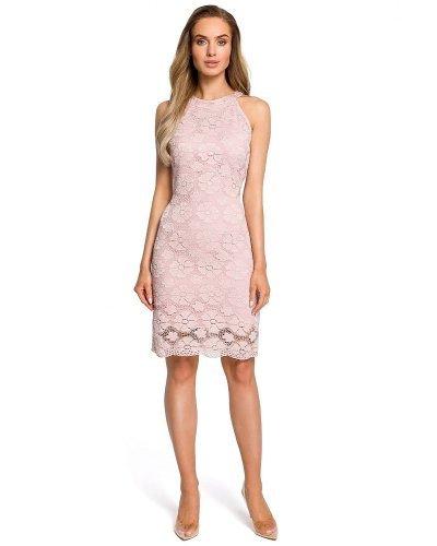 Rochie de ocazie din dantela roz pudra Aysun