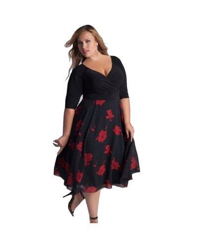 Rochie midi XXL neagra cu flori rosii Gabriela