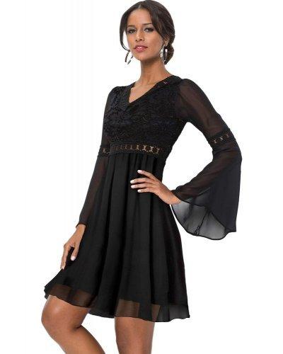 Rochie de ocazie vaporoasa cu dantela neagra Marina