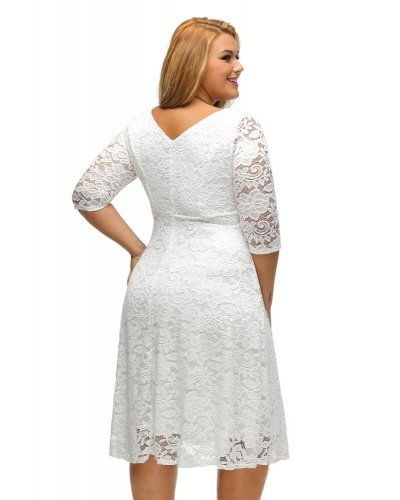 Rochie eleganta midi XXL in clos din dantela florala alba Denisa
