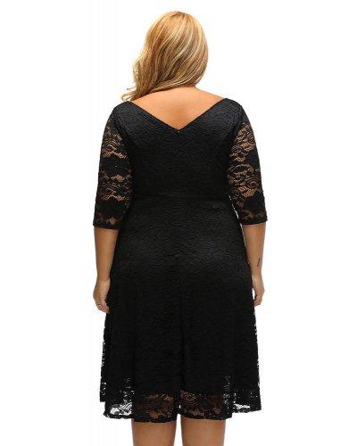 Rochie eleganta midi XXL in clos din dantela florala neagra Denisa