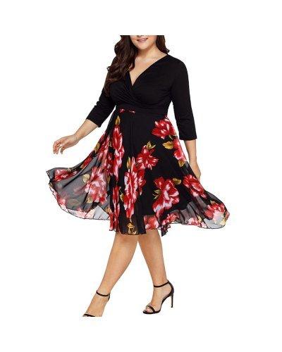 Rochie plus size XXL vaporoasa midi cu flori rosii Maria