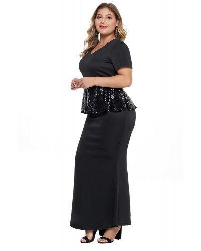 Rochie de seara XXL sirena cu peplum din paiete Sanda