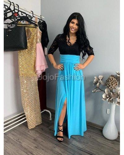 Rochie eleganta lunga negru si bleu Simona