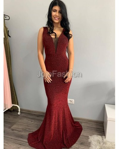 Rochie eleganta lunga sirena cu fir stralucitor rosu Isra