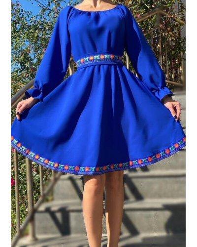 Rochie albastra cu motive traditionale baby doll Susie