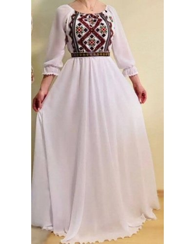 Rochie cu motive traditionale lunga din voal alb Saray