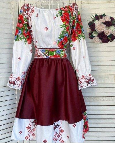 Rochie cu motive traditionale scurta tafta burgundy cu maci Soledad