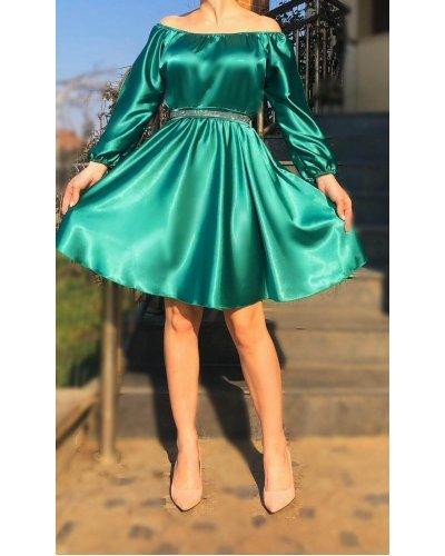 Rochie de ocazie din satin verde turcoaz in clos scurta Calirroe
