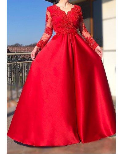 Rochie de ocazie lunga din tafta rosie si broderie Anyella