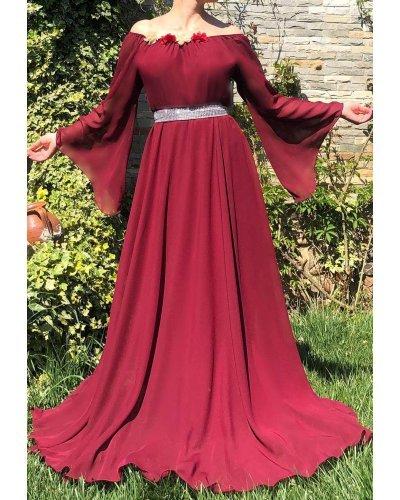Rochie de ocazie din voal burgundy lunga FairyTale
