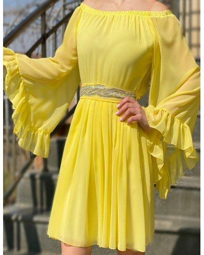 Rochie de ocazie din voal galben cu maneci clopot Alyna