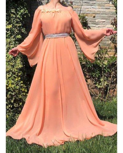 Rochie de ocazie din voal portocaliu pal lunga FairyTale