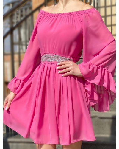 Rochie de ocazie din voal roz bombon Alyna