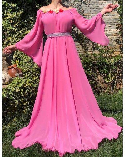 Rochie de ocazie din voal roz bombon lunga FairyTale