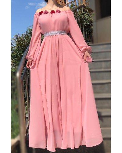 Rochie de ocazie din voal roz lunga FairyTale