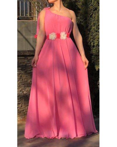 Rochie de ocazie din voal roz one shoulder Azelia