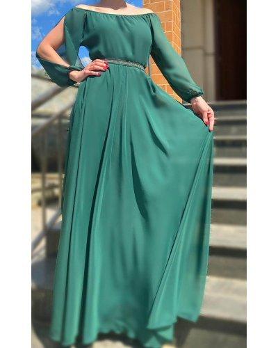Rochie de ocazie din voal turcoaz lunga Afrodita