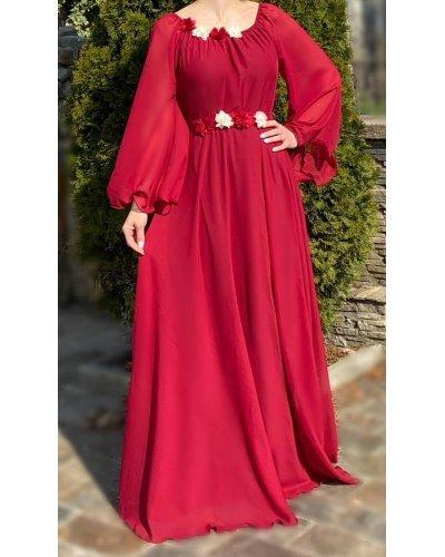 Rochie de ocazie eleganta lunga voal rosu Angel