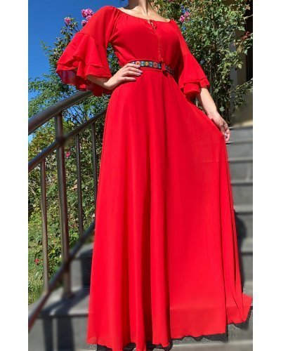 Rochie de ocazie eleganta rosie din voal cu volane Sheila
