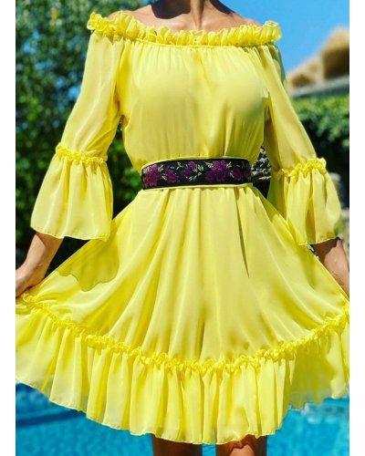 Rochie de ocazie scurta in clos voal galben cu volane Ailyne