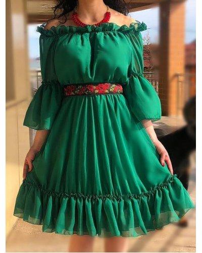 Rochie de ocazie scurta in clos voal verde cu volane Ailyne
