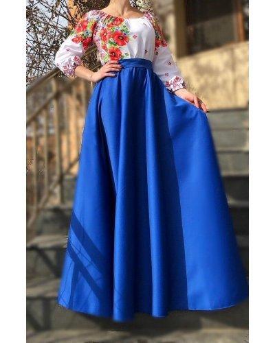 Rochie de ocazie traditionala lunga din tafta albastra Anna
