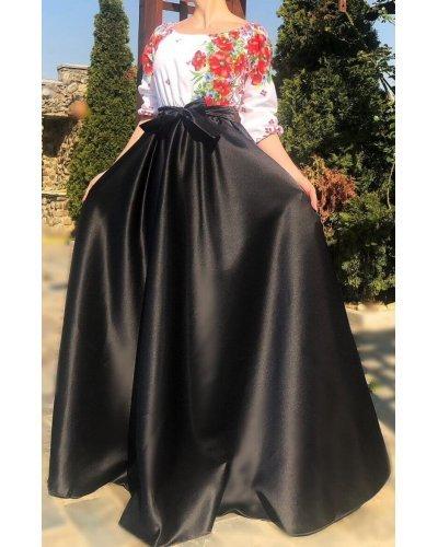 Rochie de ocazie traditionala lunga din tafta neagra Anna