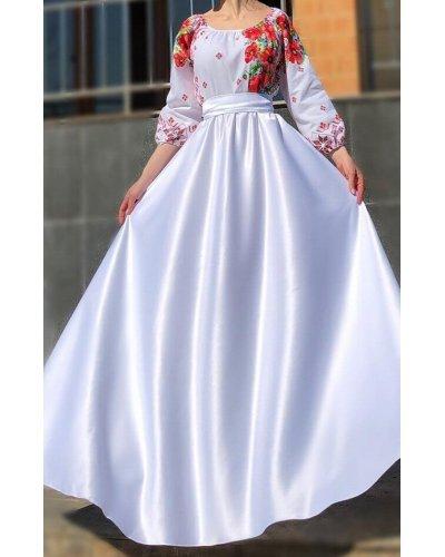Rochie de ocazie traditionala lunga din tafta alba Anna