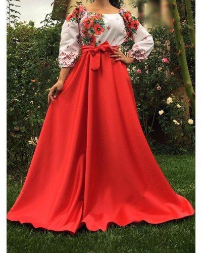 Rochie de ocazie traditionala lunga din tafta rosie Anna