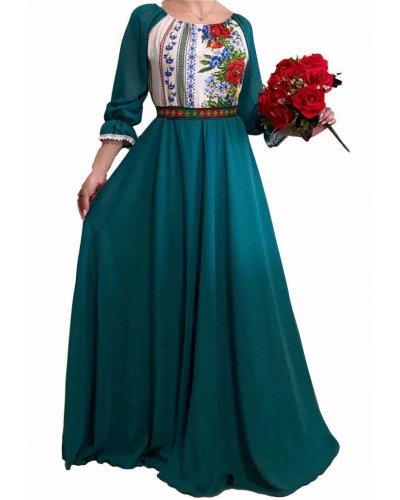 Rochie de ocazie traditionala lunga turcoaz inchis Malina