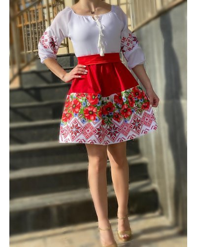 Rochie de ocazie traditionala scurta in clos rosie cu maci Marusia